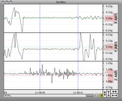 Seismac - программа для датчика движения MacBook. Фото.