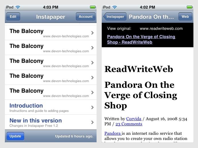 Чтение в приложении Instapaper Free/Pro на iPhone и iPod touch