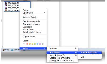 Рисунок 1. Меню создания действия, работающего с выделенными элементами Finder.