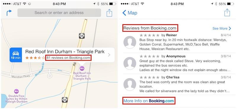 Карты Apple обзавелись поддержкой TripAdvisor и Booking.com